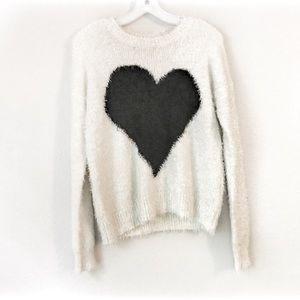 Neiman Marcus Fuzzy Heart Sweater